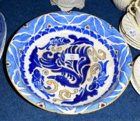 Large Kingware bowl decorated with fish in tones of blue, the base impressed Wardle, probably