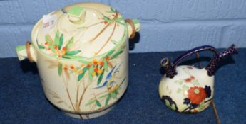 Losol ware Moira pattern biscuit barrel and cover decorated in Art Deco style with bamboo handle,