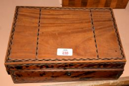 Anglo Indian vintage work box with partially fitted interior, 30cm wide