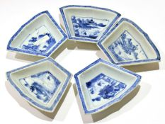 Group of five 18th century Chinese export pin trays, all with blue and white chinoiserie designs,