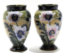 Pair of late 19th century Lambeth Doulton vases, the Slater's Patent ground decorated with tube