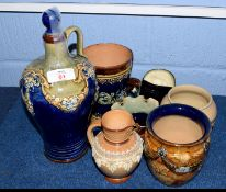 Group of Doulton wares, comprising a Doulton ewer and stopper with tube lined design, a further