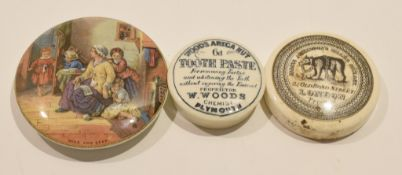 """Group of three 19th century pot lids one entitled """"Hide and Seek"""" with polychrome print, and two"""