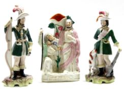 Group of two Staffordshire figures of cavaliers together with a further Staffordshire religious