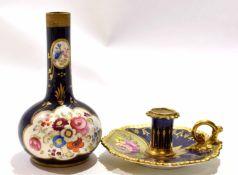 Worcester Flight Barr & Barr porcelain taper stick with a floral design on blue
