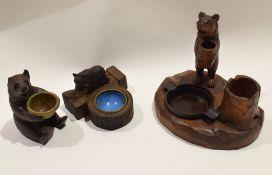 Box containing three various Bavarian type novelty ashtrays