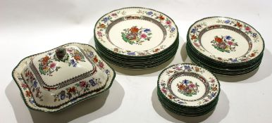 Quantity of Copeland Spode Chinese Rose dinner wares including eight dinner plates, eight side