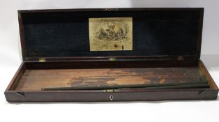 19th century mahogany gun case, plush lined lid applied with label for James Wilksinson, Gunmakers