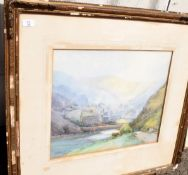 Frank B Jowett (1890-1940), Valley landscape, watercolour, signed lower left, 43 x 50cm, together