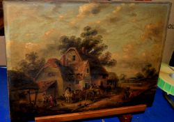 Edwin Masters (19th/20th Century), Farmsteads with figures and horses, pair of oils on canvas, 25