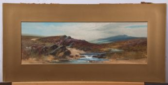 John Shapland (1865-1929), Moorland scene, gouache, signed lower right, 18 x 53cm, mounted but