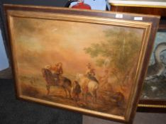 Continental School (19th/20th century)Hawking partyoil on canvas, bears signature lower right68 x