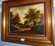 Continental School (20th century)Woodland sceneoil on panel, indistinctly signed lower right29 x