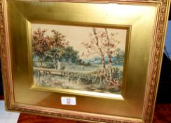 English School (19th century)River landscape with figure and sheepwatercolour17 x 23cm