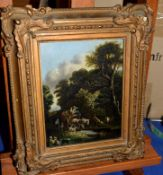 East Anglian School (19th Century), Wooded landscape with figures in horse drawn wagon, oil on
