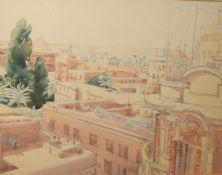 Orientalist School (20th Century), A rooftop view of Cairo, looking towards the pyramids,