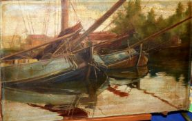 English School (19th/20th Century), Moored Boats, oil on canvas, monogrammed C R lower right, 35 x