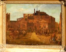 English School (19th Century) 'The Old Tottenham Road Brewery', oil over print base, 44 x 60cm,