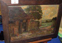 Emily Long (19th Century), Farmstead, oil on panel, 23 x 34cm