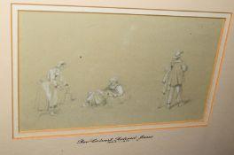 Attributed to Rev Calvert Richard Jones (1804-1877), Figure Studies, pencil drawing heightened