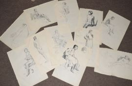 Modern British School (20th Century), Figure studies, group of 9 pencil/pen & ink drawings, all
