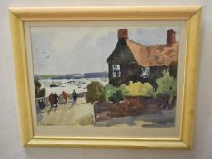 John Tookey (born 1947)Figures overlooking an estuary by a cottagewatercolour, signed lower left34 x