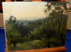 W H Bell (19th/20th Century), 'Wimbledon Common June 1897', oil on panel, signed lower right, 21 x