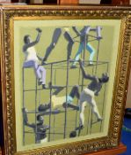 AR John Newberry (Born 1934), 'The Climbers', oil on board, signed lower left and inscribed verso '
