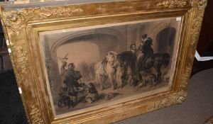 """After Sir Edwin Landseer engraved by Samuel Cousins""""Return from Hawking"""",black and white engraving56"""
