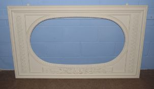 Early 20th century painted mirror frame, oval inset with flower and leaf decoration, oval inset 63 x