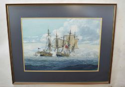 Gerald R Davies (20th century)Naval battlewatercolour, signed lower right48 x 68cm