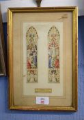 English School (early 20th century)Stained glass window designwatercolour20 x 10cm