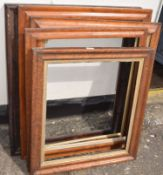 Group of 5, 19th century maple and rosewood picture frames, assorted sizes, (5)