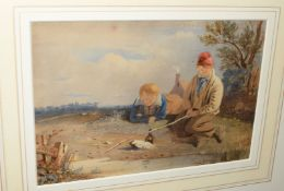 Robert Noble (1857-1917), Young Anglers, watercolour, signed to post lower left, 16 x23cm
