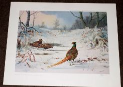AR John Cyril Harrison (1898-1985) Pheasant and Woodcock in Winter coloured print, published by