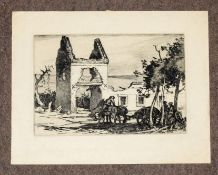 AR Cyril Henry Barraud (1877-1965) St Pierre from the Ramparts, black and white etching, signed in
