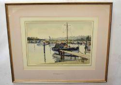 Josiah Sturgeon, RSMA, RI, FRIBA (1919-2000)Moored boatspen, ink and watercolour, signed lower