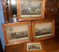 German School (19th century)Hunting scenesgroup of three hand coloured lithographs20 x