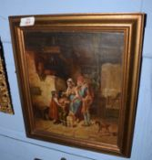 Continental School (19th century)Interior scene with familyoil on canvas, indistinctly signed