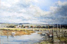 AR John Sutton (Born 1935), Norfolk landscape, watercolour, signed lower left, 36 x 53cm, unframed