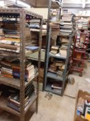METAL SHELVING: 2 units- each 210 height x 100 width- 5 x shelves each