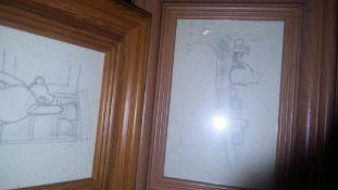 Four framed pencil drawingsa