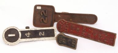 Railways Signalling Interest: Four assorted signal level plates, no company markings.