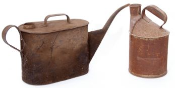 Railway Tools: Two unmarked rusty oil cans, one with spout 62 x 25cm and one cylindrical 30cm high x