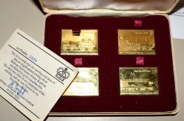 Set of four gold plated sterling silver Railway Anniversary Stamp Replicas 1925-1975 in buff