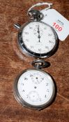 Railway-interest BR NE 475 stopwatch by Smiths together with a broken Swiss made silver fob watch by