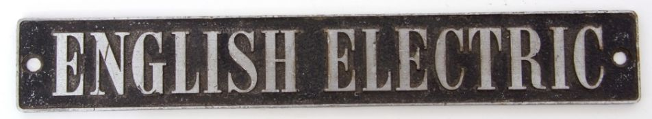 Railway Signage: Maker's Plate 26 x 4cm 'ENGLISH ELECTRIC'.