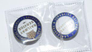 Two scarce WW1 Railway Service Badges in good condition: LYR 'Railway Service''Thomas Fattorini