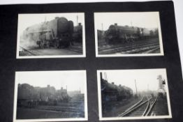 Grey photo album 38 x 26cm containing approx 45 mostly unlabelled b/w photos of British steam