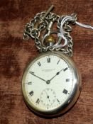 Railway-interest GWR 122 silver fob watch by Thos Russell & Sons, Liverpool, with chain.